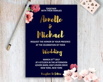 Good Gold And Navy Wedding Invites Printable Wedding Invitation Kit Floral And Navy  Wedding Invitations Boho Wedding