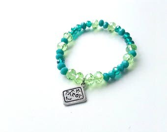 Tarot bracelet, Teal bracelet, Stretch bracelet, Beaded bracelet, Pagan bracelet, Wiccan bracelet, Witch jewellery, Tarot cards