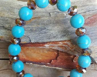 """8"""" 10mm Turquoise Magnesite Gemstone and Crystal Stretch Bracelet, Stretch Turquoise Bracelet, Turquoise Crystal Bracelet, Turquoise"""