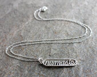 Sterling Silver Namaste Necklace, Namaste Pendant, Yoga Necklace, Yoga Pendant, Yoga Jewellery, Yoga Jewelry, Meditation Necklace