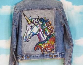 Veste jean bleu, veste en jean Motif Licorne peint main Taille 38 Tex