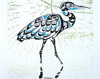 Blue Heron Print - Animal Art, Home Wall Decor, Made by Northwest Artist
