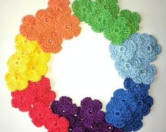 Crochet flowers applique Rainbow,set of 35 flowers,size 1 inch,Seven colours