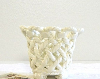 vintage white plant pot small woven ceramic plant pot
