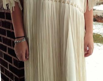 White Buckskin Primitive Native American Dress