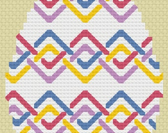 Cross Stitch Pattern - Easter Egg - Ribbon Weave