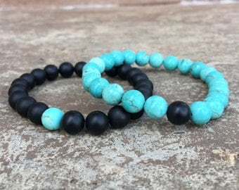 2 Pc Set! Distance/friendship Bracelets - Turquoise And Black - For Friendships/relationships/couples - Long Distance Split Set