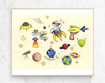 space / A4 art print wall decor childrens nursery room