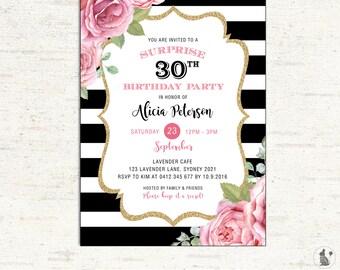 St Birthday Invitation Floral Black Gold Glitter Confetti - 21st birthday invitations gold coast