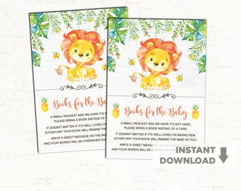 Lion Baby Shower. Jungle Books For Baby Invitation Insert. Bring A Book  Instead Of