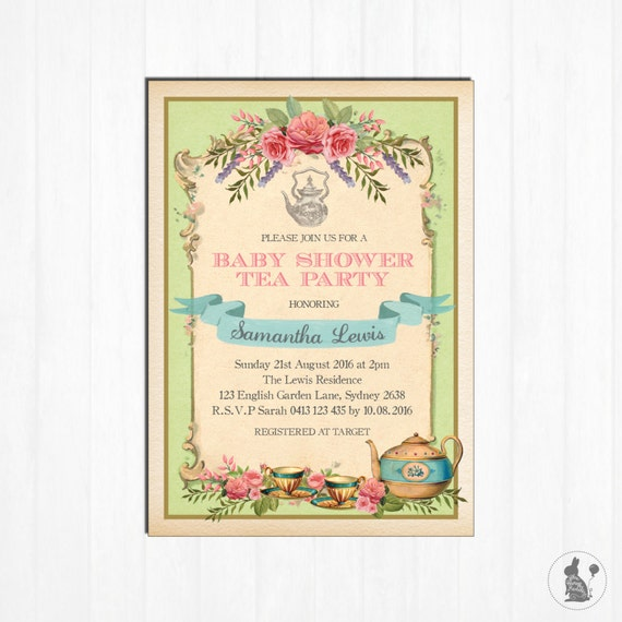 Vintage tea party invitation floral baby shower invite mint retro il570xn filmwisefo