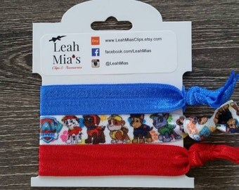 Paw Patrol Hair Ties Set of 3, Paw Patrol hair accessories, Hair tie Bracelets, Paw Patrol Elastics, Paw Patrol Party Favors, Blue & Red