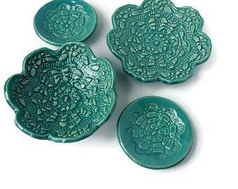 Turquoise Ceramic Set, Blue Lace Pottery, Ceramic Bowl, Trinket Dish, Ceramic Dish Set, Whimsical Gift, Housewarming Gift, Pottery Gift Set