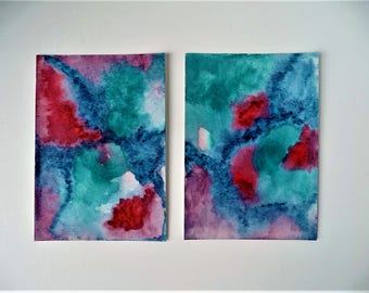 Contemporary Abstract Art, Colorful Watercolor, Wall Art Painting, Modern Wall Decor, Abstract Painting, Aquarel Gift, Home Present, Diptych