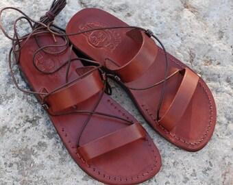 strappy summer sandals,gladiator sandals, Greek sandals wrap up sandals lace up sandals tie up sandals,lace-up sandals Brown Leather Sandals