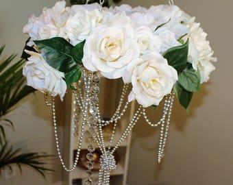 ROSE FLORAL CHANDELIER, Flower Chandelier, Crystal Mobile, Nursery, Newborn Photography Prop, Crystal, Crib Mobile, Hanging Rose Chandelier