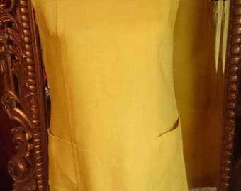 Vintage 1960's Peck & Peck Fifth Avenue A Peggy Peck  Exclusive Yellow Linen Dress!