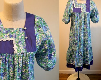 Purple Floral Peasant Dress