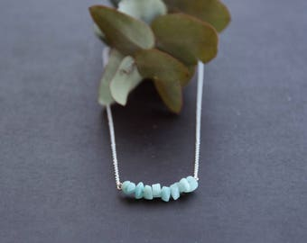 Amazonite necklace and chain, Silver 925, natural stone, for wife and daughter