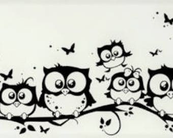 Owl Family on a Branch Art Wall Sticker, Home Decor,  Wall Decoration, Vinyl Stickers