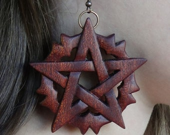 Witch jewelry pagan jewelry wiccan Pentagram earrings pentagram jewelry Pentacle earrings Wicca Witchcraft Occult Eco jewelry Wood earrings