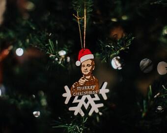 Murray Christmas Ornament, Bill Murray Christmas Tree Wood Decoration, Hand-Painted Merry Xmas Wooden Decor
