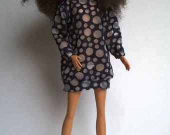 Transparent oversized dress in blue circles for Barbies