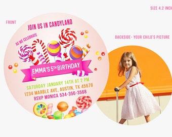 Lollipop invitation, Lollipop Birthday Invitations, Candyland Invitation, Candy land Invitations, Sweet Shop invites,  lollipop invite,