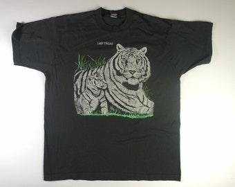 90s Vintage Las Vegas White Tiger Tee - Vintage Screen Star tag Las Vegas Tshirt - XL