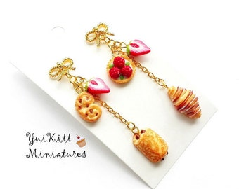 French Patisserie Earrings/ French Cafe/ Berry Croissant Earrings/ Berry Tart Earrings/ Berry Earrings/ Fake Food Earrings/ Berry Jewelry