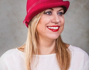 Womens Hat, Red Cloche, Red Bowler - Scarlett