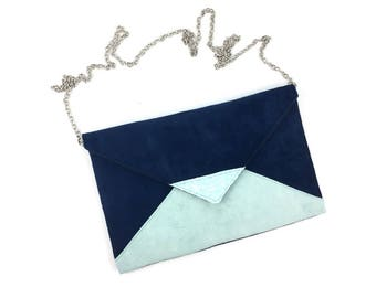 Navy Blue pouch green water bag, mint green and glitter silver chain