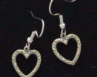 Heart Earrings Open Patterned Detail Pewter Valentine Love Romance Hearts Valentines Day Gift ES239