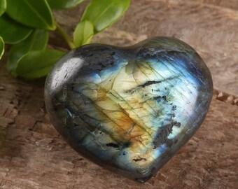 One Small LABRADORITE Heart - Labradorite Stone, Healing Stone, Gemstone Heart Rock, Chakra Crystal, Heart Stone, Heart Chakra Stone E0464