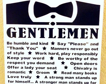 Rules of Gentlemen canvas, 16x20, boy bedroom, family rules, playroom, nursery decor, how to be a gentleman, preschool, little boys, growing