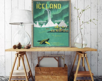 Vintage Iceland Canvas, Iceland Poster, Vintage Poster Print, Printed on Canvas, Vintage Wall Decor,Visit Iceland Canvas, Iceland Poster
