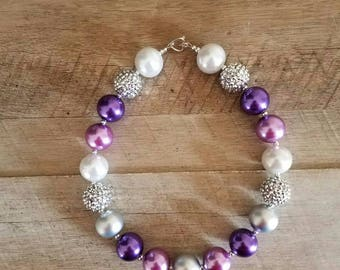 Purple and Silver Chunky Necklace, Bubblegum Bead Necklace, Chunky Beads, Baby Bubblegum Necklace, Purple Silver Chunky Necklace, Photo Prop