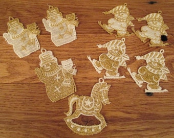 Vintage Set (8 pieces)  of Hand Sewn Christmas Applique  Ornaments Snowman, Rocking Horse, Skater/ Blanket Clothing Crafts Repurpose Sewing