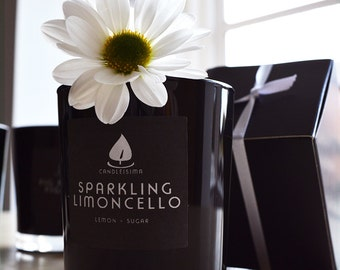 SPARKLING LIMONCELLO Soy Candle with Cotton Wick; Sweet Sugar Lemon Scent, 200g