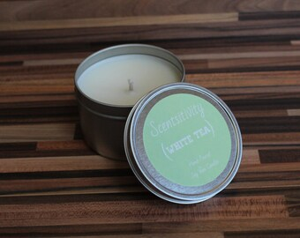 White Tea Hand Poured Soy Wax Candle 8oz.