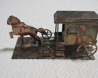 Horse & Buggy, Amish Style, Decorative Accent, Bookshelf Decor, Copper Colored Tin, Vintage