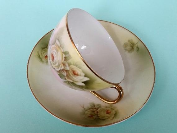 Beyer & Bock Royal Rudolstadt - White Roses Teacup + Saucer   Shabby Chic Handpainted Floral + Gold Trim   Vintage Bone China