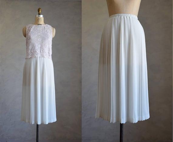 vintage pleated chiffon skirt white knife pleat midi