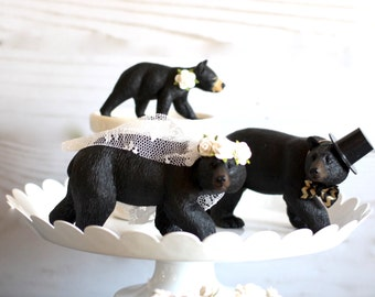 Rustic Wedding Cake Topper Family Wedding Woodland  Bear Wedding Cake Topper Elegant Wedding Cake Decoration
