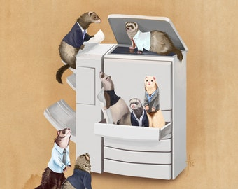 Business Ferrets Art Print // pigment print, archival, 8x10 11x14 // ferrets doing business, collective noun, gifts for ferret lovers, work