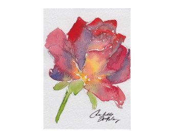 Rose  - Watercolor ACEO Original