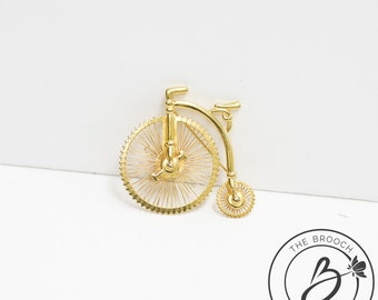 Bicycle brooch, penny farthing brooch, gold brooch, steampunk brooch, vintage style, high wheeler brooch, pin brooch, penny-farthing brooch
