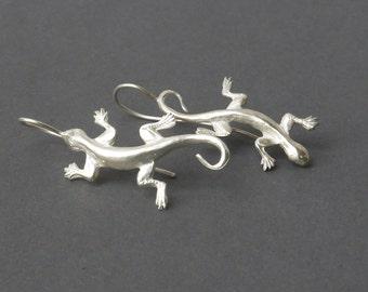 Lizards earrings made of silver / silver Gekko earrings