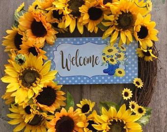Rustic Sunflower Wreath, Summer Sunflower Wreath, Rustic Grapevine Wreath, Sunflower Welcome Wreath, Sunflower Wreath, Front Door Wreath