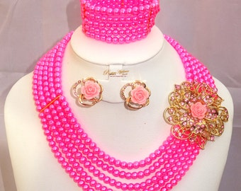 Pink Multi Layers Beads Party Jewelry Necklace Set